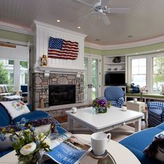 show this to shannon for ideas for her fireplace - beadboard and white mantel with green walls and blue sofa  Cottage Style Fireplace Design, Pictures, Remodel, Decor and Ideas - page 9