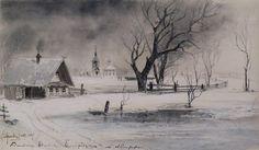 Оттепель Thaw, 1887 by Aleksey Savrasov. Realism. landscape