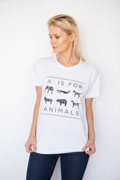 We are A IS FOR ANIMALS; a company built by animal lovers with the goal of raising funds and awareness for animal conservation & rescue organizations. www.aisforanimals.org American Apparel Power Washed Tee: An enzyme wash treatment that simulates 40 typical laundry cycles gives this garment a unique super-soft feel. This t-shirt features a more open neckline and slightly looser fitting body. Runs slightly large. * 100% Fine Jersey Cotton. * Unisex cut: **Women, please order at least one…