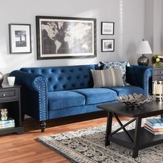 Baxton Studio Emma Traditional and Transitional Navy Blue Velvet Fabric Upholstered and Button Tufted Chesterfield Sofa - Wholesale Interiors Emma-Navy Blue Velvet-SFThe classic chesterfield sofa receives a modern twist with the Emma sofa. Blue Velvet Sofa Living Room, Navy Living Rooms, Living Room Sofa, Blue Velvet Loveseat, Navy Blue Velvet Sofa, Blue Tufted Sofa, Living Spaces, Navy Blue Couches, Blue Sofas