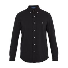 Polo Ralph Lauren Mesh-knit cotton oxford shirt ($75) ❤ liked on Polyvore featuring men's fashion, men's clothing, men's shirts, men's dress shirts, black, mens curved hem t shirt, mens oxford dress shirts, mens slim fit button down shirts, mens oxford shirts and men's oxford button down shirts