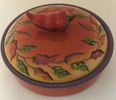 Clay Art Chili Fiesta Tortilla Warmer Chili Pepper Handle Hand Painted Stoneware | eBay