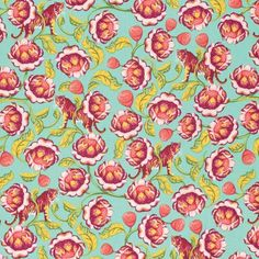 Lotus in Tomato designed by Tula Pink for FreeSpirit Fabric as part of the Eden collection