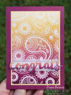 handmade congrats card using Stampin' Up Paisley & Posies stamps, heat emboss resist technique & ombre sponge brayering. By Di Barnes #colourmehappy 2017 Occasions Catalogue
