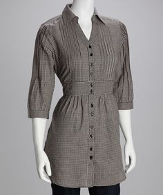 Take a look at this Black Button-Up Three-Quarter Sleeve Tunic by Trixx Concept on #zulily today!