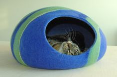 Cat bed/cat cave/cat house/blue felted cat cave With by elevele
