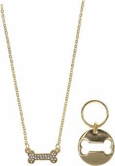 Pet Friends Pave Bone Pendant with Matching Charm, Gold - Chewy.com Buy Pets, Pep Talks, Pet Stuff, Bones, Gold Necklace, Charmed, Friends, Pendant, Jewelry