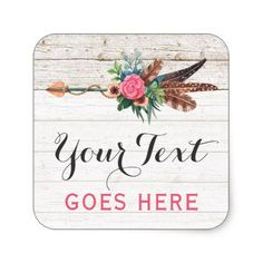 #wood - #Bohemian Feather Arrow & Rose on Rustic White Wood Square Sticker