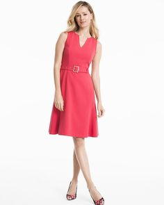 "This little coral dress is a workweek must-have. Fit-and-flare silhouette, V-neck and removable belt will take you from Monday meetings to casual Fridays. Try it with our matching Moto Jacket and Olivia Floral Pumps.  Flippy hem fit-and-flare dress in nailpolish pink V-neck; removable belt with silvertone hardware Hidden back zip with hook-and-eye closure Lined Regular: Approx. 38"" from shoulder; hits at knee Petite: Approx. 36"" from shoulder Polyester/rayon/spandex. Machine wash cold…"