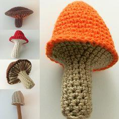 Bolets | setas | mushrooms #amigurumi #crochet #ganchillo #ganxet Crochet Tree, Crochet Box, Crochet Pumpkin, Crochet Fall, Form Crochet, Halloween Crochet, Cute Crochet, Crochet Flowers, Knit Crochet