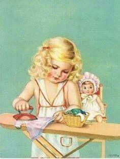 Vintage Illustration Set of TWO Just Like Mommy Retro Fabric Blocks - Great for Quilting, Pillows Vintage Abbildungen, Images Vintage, Vintage Pictures, Vintage Prints, Vintage Greeting Cards, Vintage Postcards, Little Doll, Little Girls, Halloween Vintage