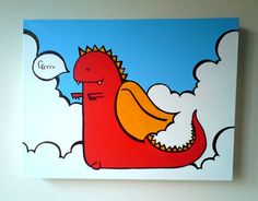 Acrylic Painting On Canvas  Original  Dragon by Chep on Etsy, £40.00