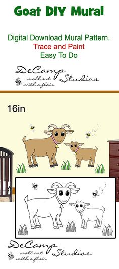 DIY Barnyard Goat Wall Art Mural Pattern Digital Download for baby boy nursery or children's room decor. Do It Yourself Trace and Paint By Number. Also great for church nursery, childcare, pediatric office, and preschool #decampstudios