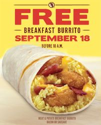 FREE Breakfast Burrito at Taco John's on 9/18 on http://hunt4freebies.com