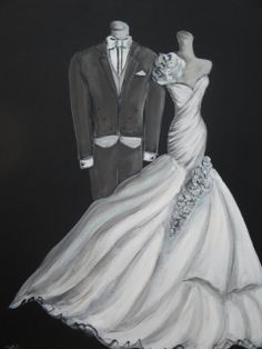Items similar to Bride and Groom Wedding Dress Custom Art Illustration Painting on Etsy Groom Wedding Dress, Custom Wedding Dress, Wedding Dresses, Wedding Dress Illustrations, Dress Painting, Custom Art, Mother Of The Bride, Illustration Art, Tuxedos