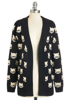 Mew Know It's True Cardigan. When pals call this cat-printed cardigan from Sugarhill Boutique the purr-tiest theyve ever seen, you cant help but agree! #black #modcloth