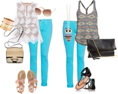 Two ways to wear bright blue skinnies, created by jennabarclay on Polyvore