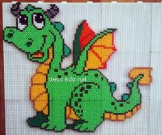 DECO.KDO.NAT: Perles hama: dragon vert et jaune