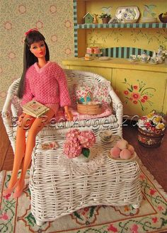 Barbie's Loves to Garden    Vintage Barbie TNT model 1160 circa 1967  Vintage Vacation Time fashion circa #1623 circa 1965  Handmade Rug & Doily by Marcia Benatti  Handmade Gardening Journal by Pat Carlson  Handmade Pink Hydrangea by Jody Raines  Handmade Basket by Michelle Blohm