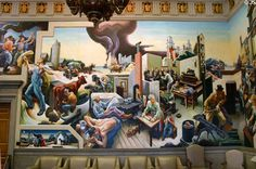 Detail of farming, homelife, courtroom, mining on Social History of Missouri mural (1935) by Thomas Hart Benton at Missouri State Capitol. Jefferson City, MO.