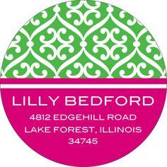 Green and Hot Pink Stylish Pattern Round Address Labels