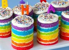 Teeny Tiny Rainbow Cakes (this one is safe - I pinned directly from the site after finding most others had warnings when tried to repin)