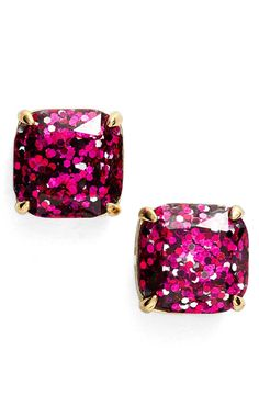 pink glitter studs