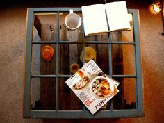 Coffee table from pallets and an ols window
