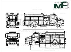 American LaFrance STERLING 2 DOOR RESCUE PUMPER (fire engine) - drawing