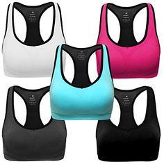 Discounted MIRITY Women Racerback Sports Bras - High Impact Workout Gym Activewear Bra Color Black Grey Blue Hotpink White Pack of 5 Size XL #MIRITYWomenRacerbackSportsBras-HighImpactWorkoutGymActivewearBraColorBlackGreyBlueHotpinkWhitePackof5SizeXL