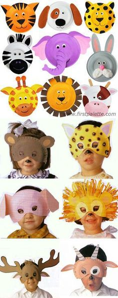 Animal masks on cardboard plates .- Mascaras de animales en platos de carton … Animal masks on cardboard plates More - Paper Plate Masks, Paper Plate Art, Paper Plate Crafts, Projects For Kids, Diy For Kids, Art Projects, Crafts For Kids, Fun Crafts, Paper Plates
