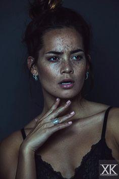Model / Actress: Melissa van Beek - Features: Freckles Eurasian Asian Mixed Natural Brunette Beauty Make-up Fringe Bangs - Location: Holland / Dutch / Netherlands - Photo: Black White Color Portrait Fashion Faces Photoshoot Studio Light - Photographer: Xenia Koopmans - Client: