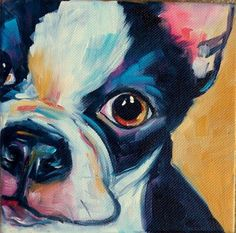 Items similar to Original Oil Painting - Black and White Boston Terrier Dog Puppy on Etsy Boston Terrier Art, Paint Your Pet, Simple Acrylic Paintings, Illustration Art, Illustrations, Wow Art, Dog Portraits, Animal Paintings, Oeuvre D'art