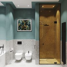 Blue Bathroom: ideas and tips to decorate the environment with this color - Home Fashion Trend Bathroom Rules, Modern Bathroom, Small Bathroom, Bad Inspiration, Bathroom Inspiration, Interior Inspiration, Casa Loft, Small Toilet, Toilet Design