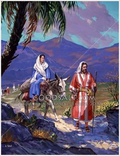 Mary and Joseph travel to Bethlehem for the Roman census.