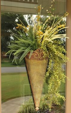 step by step fall door arrangement, crafts, seasonal holiday decor, Start with this arrangement that I share how to make Door Swag, Fall Door, Porch Decorating, Holiday Decorating, Wreath Crafts, Baskets On Wall, Summer Wreath, Holiday Wreaths, Flower Pots