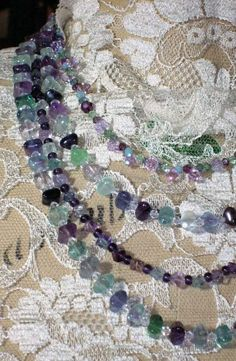 Rainbow Fluorite and Swarovski Crystal 4-strand Necklace @ Eclectic Oddities, Artfire