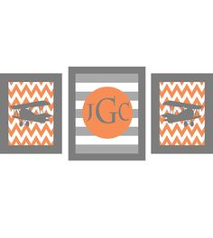 Airplane Nursery Art Chevron - Monogram Print Set - Gray Orange Boy Room Biplane Flying - Wall Art Home Decor Set - Another DIY Inspiration Airplane Decor, Airplane Nursery, Baby Boy Rooms, Baby Boy Nurseries, Kids Rooms, Baby Room, Orange Boys Rooms, Boys Bedroom Furniture, Kids Bedroom