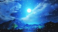 #sky #clouds #stars #gif #goodnight #wishes #night #mountain #snow