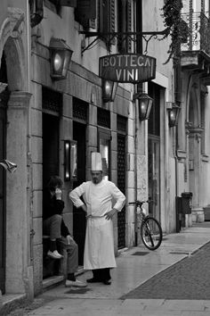 Italians Italian Verona chef cook restaurant cuisine bistro black and white photo photography  25.00 Black and white photo printed onto watercolor paper or photo paper available in 8x10 and larger