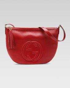 Soho Leather Messenger Bag, Red