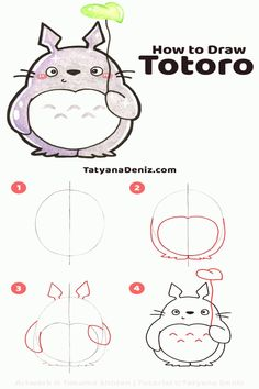 #Easy #drawings #drawing #looking How to draw kawaii Totoro stepbystep    Do you love Totoro Here is how to draw an easy and cute kawaii Totoro step by step Its based on a simple egg shape and has simplified forms You can draw it and colour it so quick Great for cards craft projects and to draw with kids Kawaii art and drawing tutorial by Tatyana Deniz  Best Picture For  Drawing ideas pencil  For Your Taste  You are looking for something and it is going to tell you exactly what you are… Cute Doodles Drawings, Doodles Kawaii, Cute Drawings Of People, Easy Drawings For Kids, Cute Kawaii Drawings, Art Drawings, Art Sketches, Drawing Ideas Kids, Simple Cute Drawings
