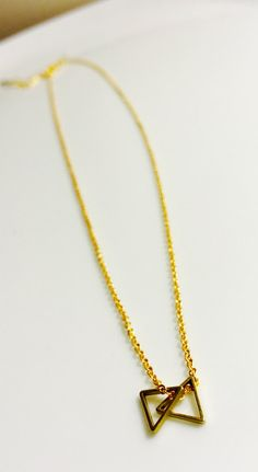 double triangle gold necklace by Byachadjewelry on Etsy
