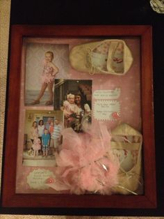 Shadow box for first dance recital. First ballet shoes, hair piece, ticket and pic with fam and first dance teacher.