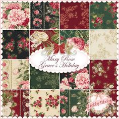"""Mary Rose Grace's Holiday  16 FQ Set By Quilt Gate: Mary Rose Grace's Holiday is a sophisticated Christmas collection by Quilt Gate.  100% cotton.  This set contains 16 fat quarters, each measuring approximately 18"""" x 21""""."""