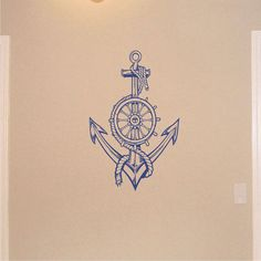 Nautical Anchor & Ships Wheel with Rope Kids Wall Decal Home Wall Decor on Etsy, $42.50