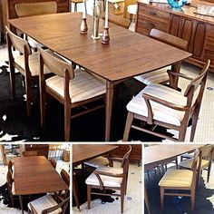 #DanishModern #MidCentury #Walnut 6 Seat #DiningTable And Chairs W/ 3 Leafs. Info @ link below.