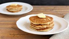 "Paleo Buttermilk Pancakes are easy, grain free with low carb and dairy free options. Made with dairy free ""buttermilk"" and a combination of grain free flours. Low Carb Pancakes, Buttermilk Pancakes, Low Carb Bread, Low Carb Breakfast, Low Carb Keto, Breakfast Ideas, Breakfast Recipes, Cheese Pancakes, Gourmet"