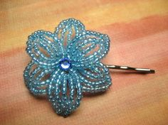 Nautical Wind  French Beaded Flower Bobby Pin by eillie00 on Etsy, $8.00