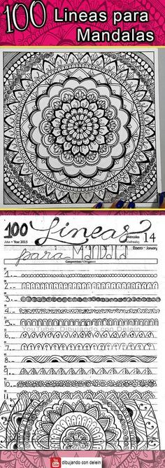 How to draw a Mandala step by step. In this post you can find a collection of 100 lines for mandalas rnrnSource by Doodle Patterns, Henna Patterns, Zentangle Patterns, Mandala Drawing, Mandala Painting, Doodle Drawings, Doodle Art, Dibujos Zentangle Art, Bujo Doodles